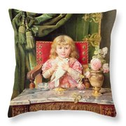 Young Girl With A Dove   Throw Pillow