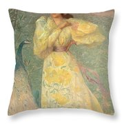 Young Girl With A Peacock Throw Pillow