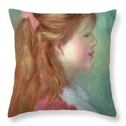 Young Girl With Long Hair In Profile Throw Pillow