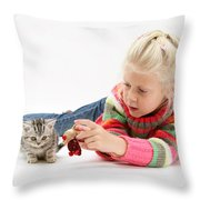 Young Girl With Silver Tabby Kitten Throw Pillow