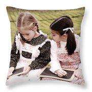 Young Girls Doodling Throw Pillow