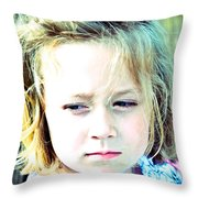 Young Girl's Expression Throw Pillow