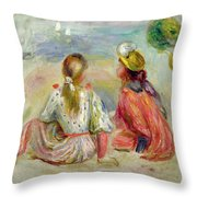 Young Girls On The Beach Throw Pillow