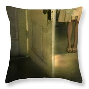 Young Lady By Open Door Throw Pillow