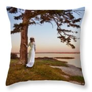 Young Lady In Edwardian Clothing By The Sea Throw Pillow