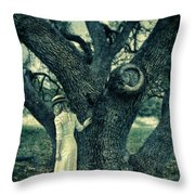Young Lady In White By Tree Throw Pillow