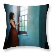 Young Lady Looking Out Window Throw Pillow