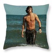 Young Man Walking Out Of The Water Throw Pillow