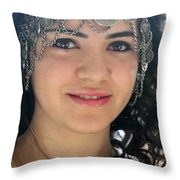 Young Palestinian In Traditional Dress In Bethlehem Throw Pillow