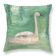 Young Swan Under Willow Tree Throw Pillow