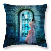 Young Woman Alone In Pink Gown  Throw Pillow