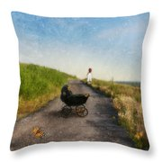 Young Woman And Baby Buggy On Dirt Road  Throw Pillow