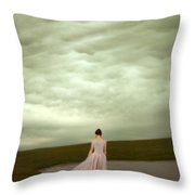 Young Woman In Long Gown By Pond Throw Pillow