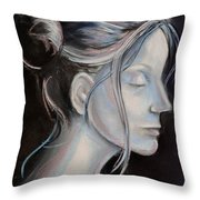 Young Woman In Profile-quick Self Study Throw Pillow