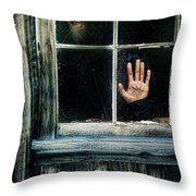 Young Woman Looking Through Hole In Window Throw Pillow by Jill Battaglia