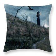 Young Woman On Creepy Path With Black Birds Overhead Throw Pillow