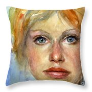 Young Woman Watercolor Portrait Painting Throw Pillow