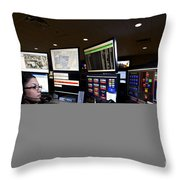 Young Woman Working In The Emergency Throw Pillow