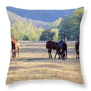 'youngsters In The Paddock' Throw Pillow