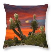 Yucca Blooming Sunset-moonset Throw Pillow