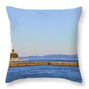Zadar Pier On The Adriatic Sea Throw Pillow