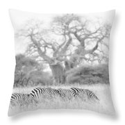 Zebra And Tree Throw Pillow