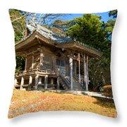 Zen Building In A Garden At A Sunny Morning Throw Pillow