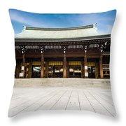 Zen Temple Under Blue Sky  Throw Pillow