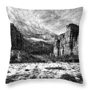 Zion Canyon - Bw Throw Pillow
