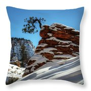 Zion National Park In Winter Throw Pillow