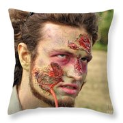 Zombie With Leech Throw Pillow