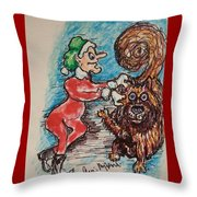 A Elf And Her Dog Throw Pillow