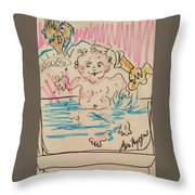 Bathing Time Throw Pillow