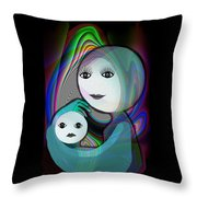 044 - Full Moon  Mother And Child   Throw Pillow