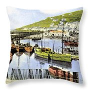 1900 Harbour View Mousehole Cornwall England Throw Pillow