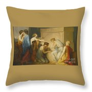 A Group Of Female Mourners At The Tomb Of Achilles Throw Pillow