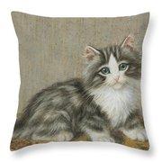 A Kitten On A Table Throw Pillow