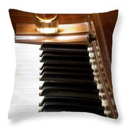 A Shot Of Bourbon Whiskey And The Black And White Piano Ivory K Throw Pillow