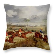 A Steeplechase - Near The Finish Throw Pillow