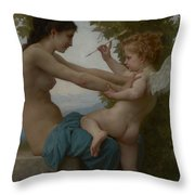 A Young Girl Defending Herself Against Eros Throw Pillow