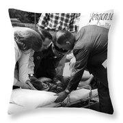 Ambulance Personnel Placing Girl Gurney April Throw Pillow