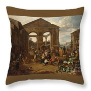 An Italianate Market Scene Throw Pillow