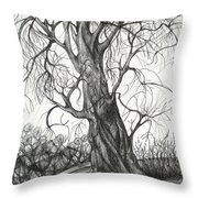 Autumn Dancing Tree Throw Pillow