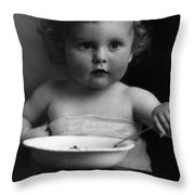 Baby Eating Cereal 1910s Black White Archive Boy Throw Pillow