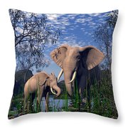 Baby Elepant An Mother At A Pond Throw Pillow