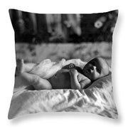 Baby Lying Blanket 1910s Black White Archive Throw Pillow