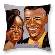 Barak And Michelle Obama   The Power Of Love Throw Pillow