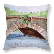 Baskets Of Flowers On Bridge To Westport Ireland Throw Pillow