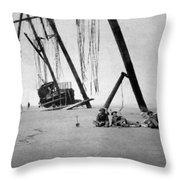 Beached Sailing Ship Circa 1900 Black White Throw Pillow