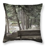 Bench By The Stream Throw Pillow